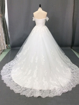 Wedding Dresses 2021 Off The Shoulder Ball Gown Short Sleeve Natural Waist Bridal Gowns With Train_4