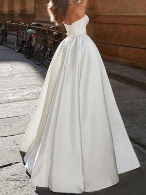 Elegant Wedding Dress Strapless Sleeveless Natural Waist Satin Fabric Floor Length Bows Traditional Dresses For Bride_2