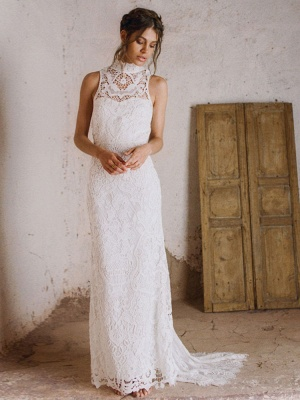 Boho Wedding Gowns 2021 Sheath High Neck Sleeveless Floor Length Bridal Gown_7
