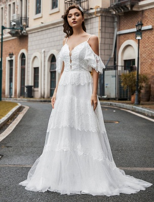 Boho Wedding Gowns Lace A-Line V-Neck Natural Waistline Beaded Wedding Gown_1