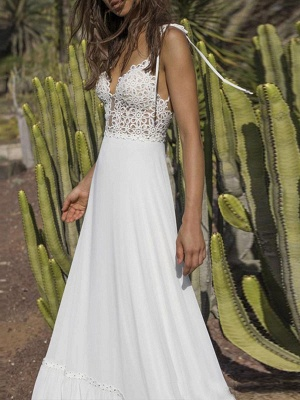Boho Wedding Gowns 2021 Chiffon V Neck A Line Straps Sleeveless Bows Lace Bridal Gowns Ruffle Hem Bridal Dress For Beach Wedding_2