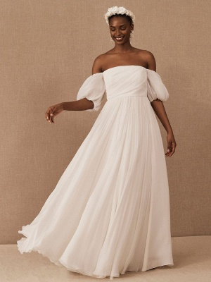 White Vintage Wedding Dress A-Line Off The Shoulder Chiffon Strapless Long Bridal Gowns_3