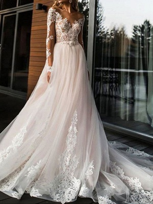 A Line Wedding Dresses V Neck Long Sleeve Lace Applique Tulle Bridal Gowns With Chapel Train_1