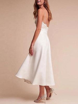 Short Wedding Dresses V Neck Sleeveless A Line Tea Length Straps Bridal Gowns_2