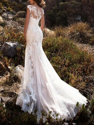 Wedding Dresses 2021 V Neck Mermaid Sleeveless Lace Embellishment Classic Bridal Gowns With Train_2