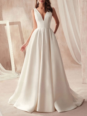 Vintage Wedding Gowns 2021 A Line V Neck Sleeveless Floor Length Pleat Bridal Gowns With Train_1