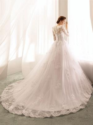 Bridal Dresses 2021 Princess Silhouette Bateau Neck Long Sleeve Natural Waist Lace Tulle Wedding Gowns_4
