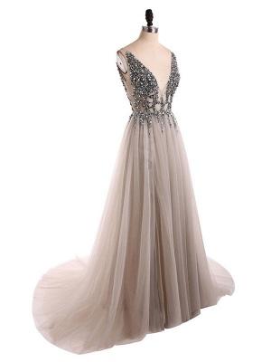 Boho Wedding Dress 2021 A Line Deep V Neck Sleeveless Straps Split Front Floor Length Prom Dresses_3