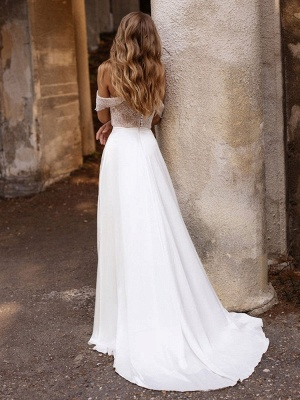 White Cheap Wedding Dresses Satin Fabric Strapless Sleeveless Cut Out A-Line Off The Shoulder Long Bridal Gowns_5