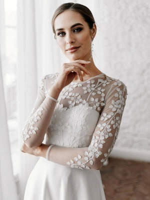 White Cheap Wedding Dresses A-Line Illusion Neckline Long Sleeves Pearls Trainsatin Fabric Lace Bridal Gowns_3