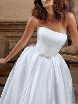Elegant Wedding Dress Strapless Sleeveless Natural Waist Satin Fabric Floor Length Bows Traditional Dresses For Bride_3
