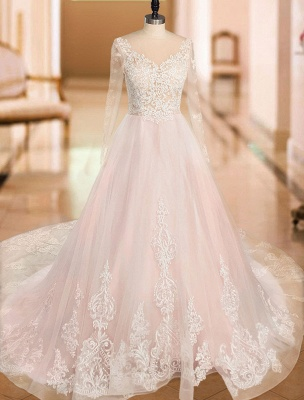 A Line Wedding Dresses V Neck Long Sleeve Lace Applique Tulle Bridal Gowns With Chapel Train_3