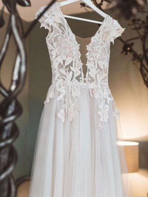 Boho Wedding Dresses Ivory V Neck Short Sleeve Applique Slit Bridal Dress_4