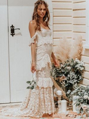 Boho Wedding Dress 2021 Off The Shoulder Floor Length Multilayer Lace Wedding Gowns_2
