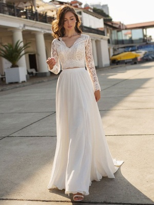 White Cheap Wedding Dress Chiffon V-Neck Long Sleeves Cut Out A-Line Split Lace Wedding Gowns_3
