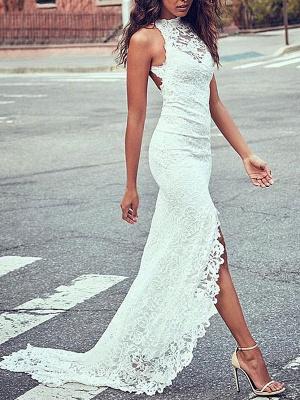Boho Wedding Gowns Mermaid High Cpllar Halter Sleeveless With Train Split Lace Bridal Dress_2