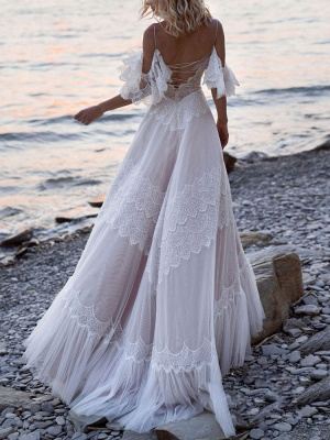 Boho Wedding Dresses 2021 A Line Deep V Neck Straps Lace Short Sleeve Bridal Gown For Beach Wedding With Sweep Train_2