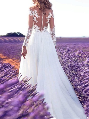 Wedding Dresses 2021 V Neck Long Sleeves Floor Length Lace Appliqued Buttons Chiffon Bridal Gowns_2