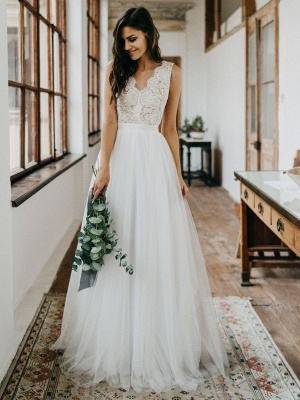 Cheap Wedding Dresses Tulle A Line V Neck Sleeveless Lace Floor Length Bridal Gowns_4