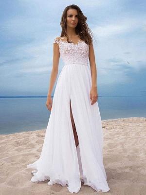 Boho Wedding Dresses 2021 Chiffon V Neck Short Sleeves A Line Split Front Bridal Gowns For Beach Wedding_4