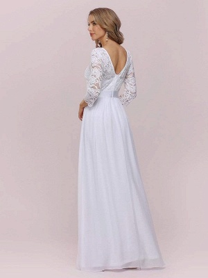 White Simple Wedding Gowns Lace Jewel Neck Lace Chiffon Half Sleeves Natural Waist A-Line Bridal Gowns_8