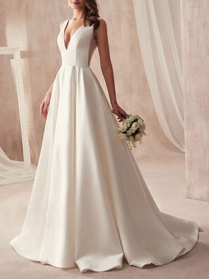 Vintage Wedding Gowns 2021 A Line V Neck Sleeveless Floor Length Pleat Bridal Gowns With Train_2
