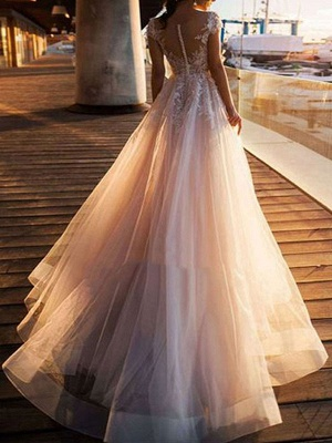 Wedding Dresses A Line Tulle V Neck Short Sleeves Lace Bridal Gowns With Train_2