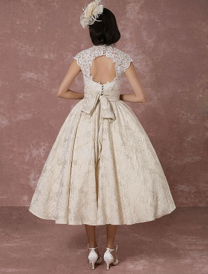 Short Wedding Dress Lace Champagne Vintage Bridal Dress Ball Gown Beading Backless Tea-Length Bridal Gown With Sash Exclusive_8