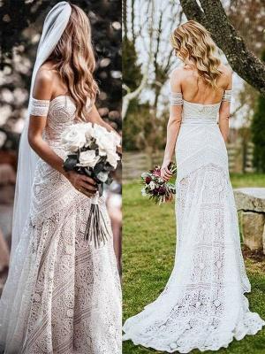 White Lace Wedding Gowns Floor Length Sheath Sleeveless Lace Sweetheart Neck Wedding Dresseses Train Dress_2