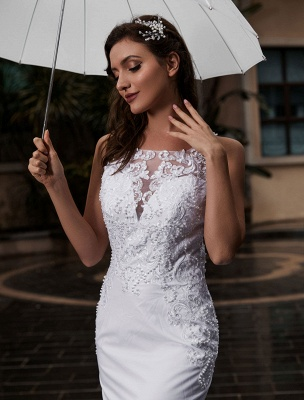 Customize Wedding Gowns With Train Sleeveless Beaded Square Neck Bridal Gowns_5