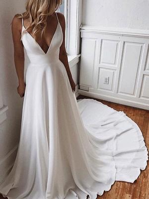 Simple Wedding Dress A Line V Neck Sleeveless Straps Back Lace Boho Bridal Dresses With Train_2