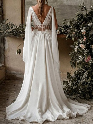 Boho Bridal Dresses 2021 Chiffon V Neck High Waist Roman Drapery Sleeve Bridal Gown_3