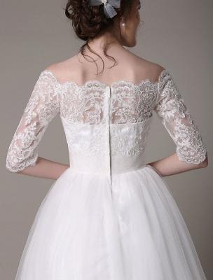 Lace Bridal Dresses 2021 Short Off The Shoulder A Line Knee Length Waist Rhinestone Bridal Dress Exclusive_7
