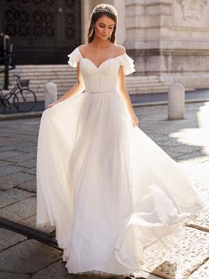 Cheap Wedding Dress A Line Off The Shoulder Natural Waistline Chiffon Wedding Gowns_1