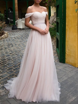 Wedding Gowns 2021 A Line Off The Shoulder Short Sleeves Sash Sweetheart Neck Bridal Gowns_2