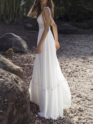 Boho Wedding Gowns 2021 Chiffon V Neck A Line Straps Sleeveless Bows Lace Bridal Gowns Ruffle Hem Bridal Dress For Beach Wedding_3