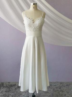 Short Wedding Dresses V Neck Sleeveless A Line Tea Length Straps Bridal Gowns_4