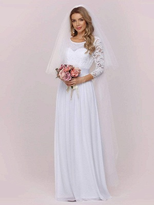 White Simple Wedding Gowns Lace Jewel Neck Lace Chiffon Half Sleeves Natural Waist A-Line Bridal Gowns_6