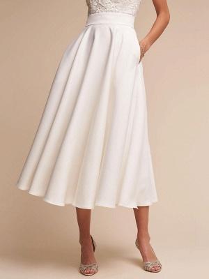 Short Wedding Dresses V Neck Sleeveless A Line Tea Length Straps Bridal Gowns_5