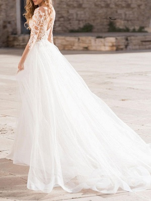 Wedding Dress V Neck Long Sleeve Sheath Floor Length Lace Beaded Bridal Gowns With Tulle Court Train_2