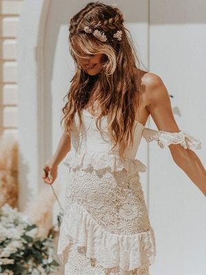 Boho Wedding Dress 2021 Off The Shoulder Floor Length Multilayer Lace Wedding Gowns_5