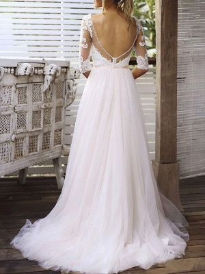 Wedding Gowns A Line V Neck Half Sleeves Lace Tulle Bridal Gowns With Train_2