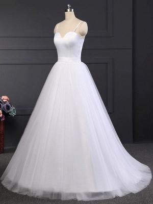 Vintage Wedding Dress Tulle Sweetheart Neck Sleeveless Sash A Line Bridal Gowns_5