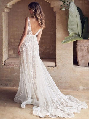 Wedding Dresses With Train A Line Sleeveless Lace V Neck Bridal Gowns_3