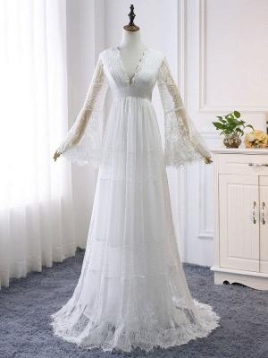 Boho Bridal Dresses 2021 A Line Deep V Neck Multilayer Lace Chiffon Beach Party Dress Wedding Gowns_3