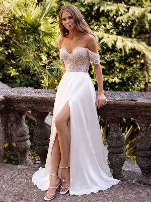 White Cheap Wedding Dresses Satin Fabric Strapless Sleeveless Cut Out A-Line Off The Shoulder Long Bridal Gowns_2