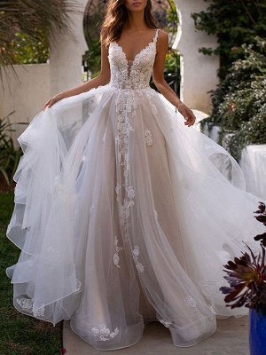 Wedding Dresses A Line V Neck Sleeveless Lace Appliqued Bridal Gowns With Train_1