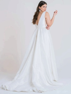 White Cheap Wedding Dress A-Line With Train V-Neck Sleeveless Pockets Satin Fabric Wedding Gowns_3