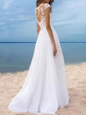 Boho Wedding Dresses 2021 Chiffon V Neck Short Sleeves A Line Split Front Bridal Gowns For Beach Wedding_2