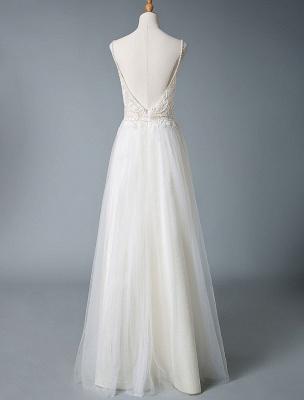 Wedding Gowns A Line V Neck Sleeveless Straps Beaded Floor Length Polka Dot Tulle Bridal Gowns_6